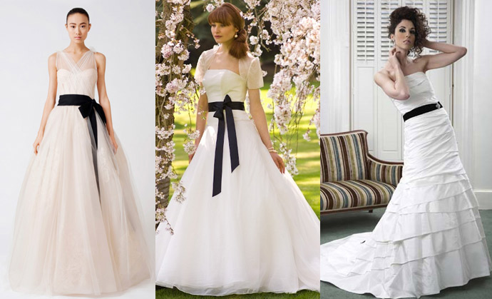 Wedding dress trend black accents wedding gown town for White wedding dress with black accents